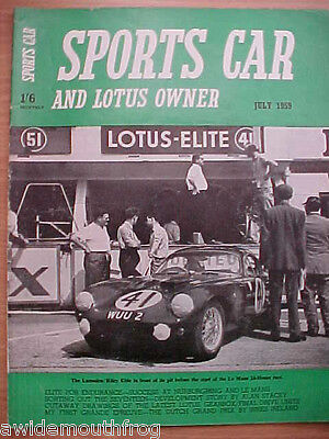 Sports Car And Lotus Owner Magazine July 1959 Original Copy