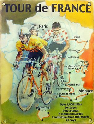 Cycling Tour de France, Cycle Racing Map, Classic Large Metal Tin Sign, Picture