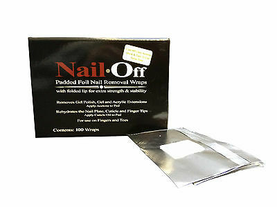 """""""Nail Off"""" padded foil remover wraps Removes Gel Polish and acrylic extensions"""