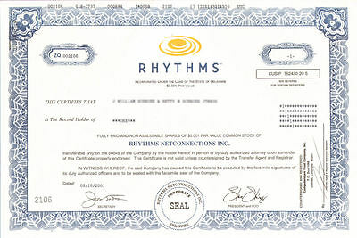 Rhythms NetConnections   internet fraud stock certificate ties to Enron Worldcom