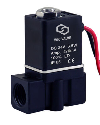 """1/4"""" Inch Plastic Electric Air Water Gas Zero Differential Solenoid Valve 24V DC"""