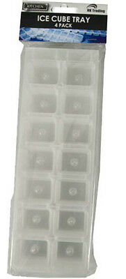 4 x ICE CUBE TRAY CLEAR PLASTIC ICE CUBE MAKER 56 CUBES GOOD QUALITY FREE P+P!