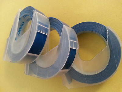 Dymo 3D embossing tape labels 3 rolls x 9mm x 3m in BLUE  *Great Sales FreeShip