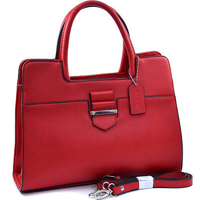 Dasein Women Leather Classic Chic Briefcase Satchel Bag Office Bag Strap  Red