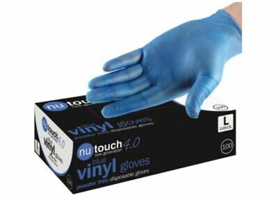 10 BOXES (1000) NTOUCH BLUE VINYL Powder & LATEX FREE Gloves Catering Food Safe