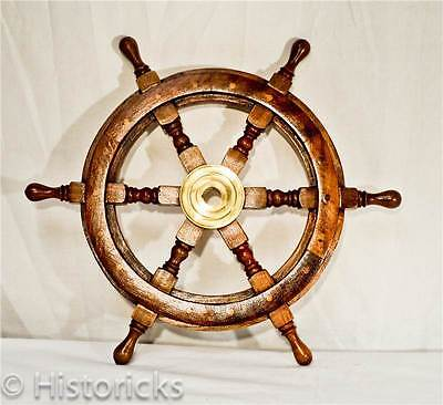 Wooden Ship Wheel 18 Inch ( pirate / boat / nautical / fancy-dress / larp )