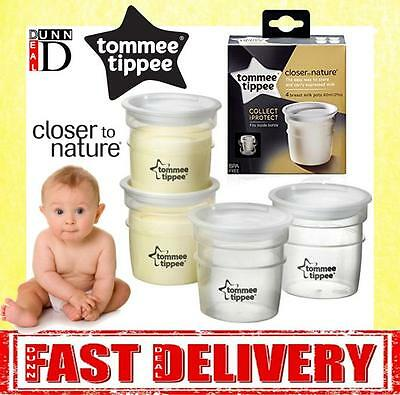 Tommee Tippee Closer to Nature 4 Baby Breast Milk Storage Pots Containers