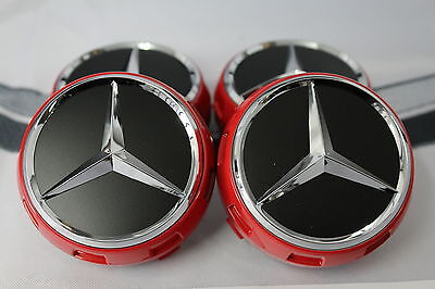 Genuine Mercedes-Benz AMG Edition One Ember Red Centre Cap Set NEW