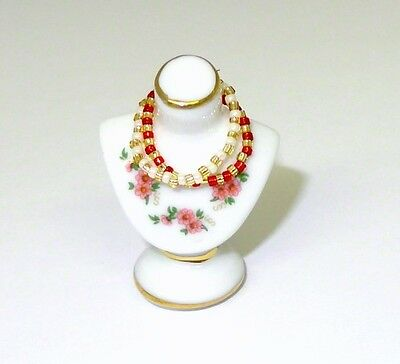 Mini Reutter Porcelain Jewelry Display Bust w Necklaces Miniatures for Dollhouse