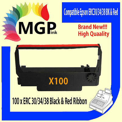 100x BLACK & RED Printer Ribbon for Epson ERC34 ERC38 ERC30 ERC 30 34 38 TM-U220