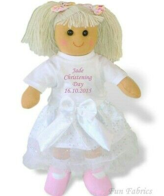 Personalised Rag Doll Christening Baptism Communion Naming Gift FAST POST