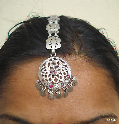 vintage antique tribal old silver hair jewelry tika head ornament belly dance