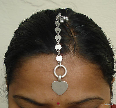 vintage antique tribal old silver hair jewelry tika head ornament heart love