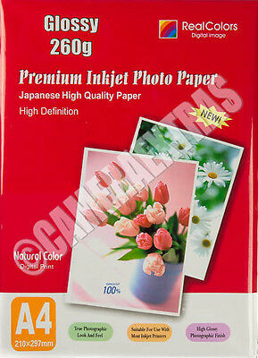 A4 260gms Quality Glossy Inkjet Photo Printer Paper Pack 20 sheets White UK