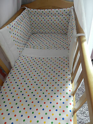 NEW 3 piece crib`cot`spacesaver or cotbed set  small spot many colours