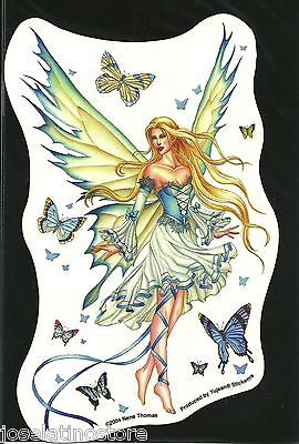 "Nene Thomas ""Prelude in Blue"" Butterfly Fairy 7 x 4 inch Vinyl Sticker Decal"