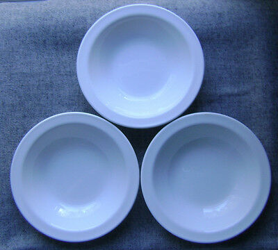"""lot of 3 vintage CORNING 7"""" SOUP BOWLS in SOLID WHITE heavy PYREX"""
