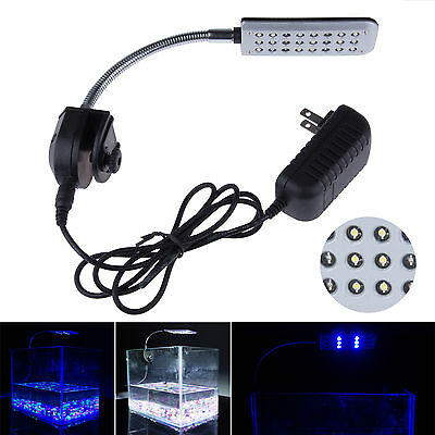 New Led Aquarium Lamp With Felexible Arm Clip On Light For Fish Tank Reef Coral
