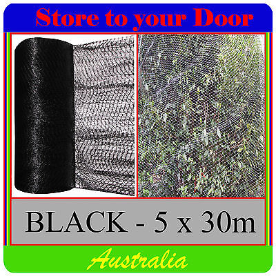 Anti Bird Netting, BLACK 5 x 30m Pest Net / Fruit, Plant, Tree, pond - extruded
