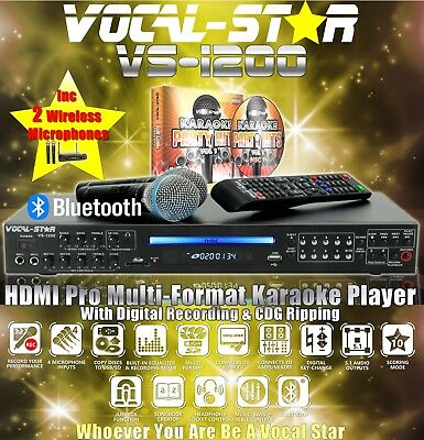 Vocal-Star Vs-1200 Hdmi Bluetooth Karaoke Machine 2 Vhf Wireless Mics 300 Songs