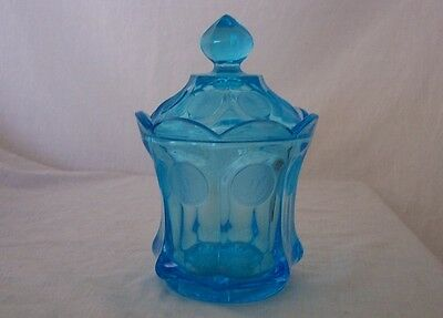 """Fostoria Turquoise Blue Art Glass with Frosted Coins """"1887"""" Candy Dish Lidded"""
