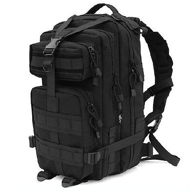 US Army Tactical Survival Camping Duty Gear Black Assault MOLLE Backpack Bag