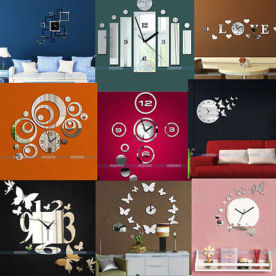 3D Modern Design Frameless Large Wall Clock DIY Home Decor Watches Hours New