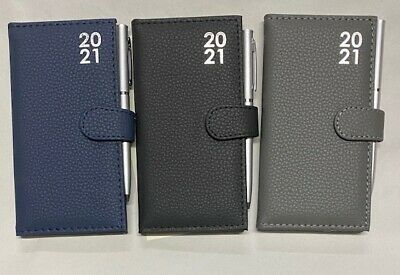 2019 Diary Slimline Padded With Pen Black, Blue And Grey Ideal Gift