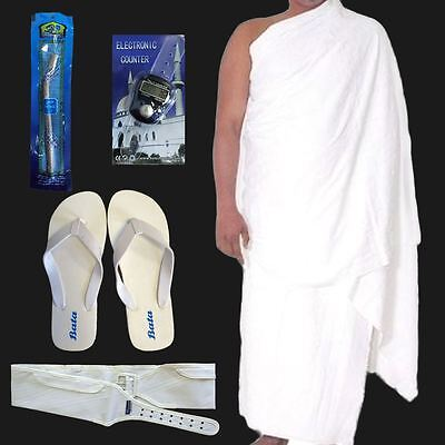 Cotton Ihram Ehram Clothing Hajj Umrah Pack Essential Kit Belt Tasbih Slippers