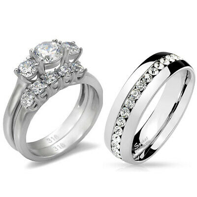 His Hers 3 PCS Stainless Steel Womens Wedding Ring Set  and Mens Clear CZ Band