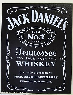 JACK DANIEL'S metal sign old no 7 bottle label Tennessee whiskey logo 1995