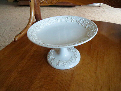Vintage Wedgwood Embossed Queensware CANDY DISH COMPOTE Cream on Cream RARE