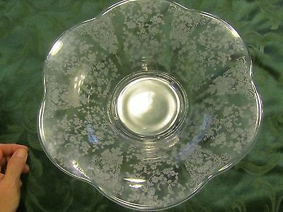 "Clear Glass Footed Bowl ~ Etched Flower - 12.25"" wide scalloped edge  LIZ"