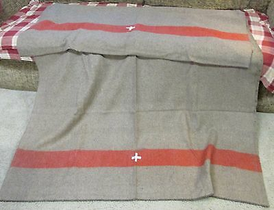 Swiss style army surplus WOOL blanket red stripe white cross camp military NEW!