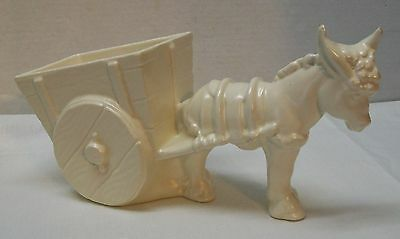 Haeger Pottery 75th Anniversary Donkey Mule Pulling Cart Planter or Candy Dish
