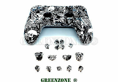 Crazy White Skull PS4 Replacement Controller Hydro Dipped Full Shell Mod Kit