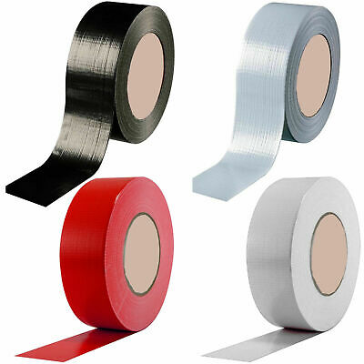 "Duck Duct Gaffa Gaffer Waterproof Cloth Tape Silver Black 48mm 2"" x 50m 1 2 3 6"