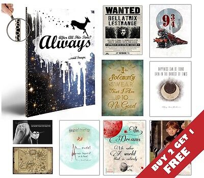 BEST Harry Potter Posters *A4 Size Thick Art Pictures* Quote Wall Art Print Gift