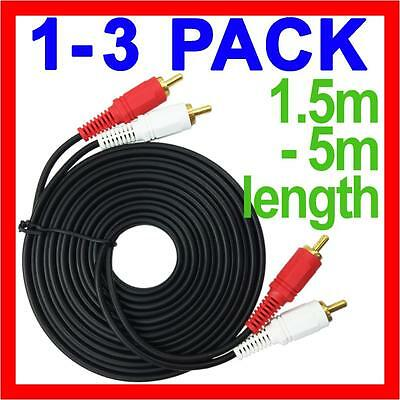 2 RCA Male to 2 RCA Male Stereo Audio Gold Plated Dual Cable Music Lead DJ Cord