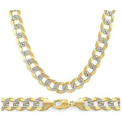 6.9mm Cuban Curb Sterling Silver 14k Yellow Gold Men Link Italian Chain Necklace