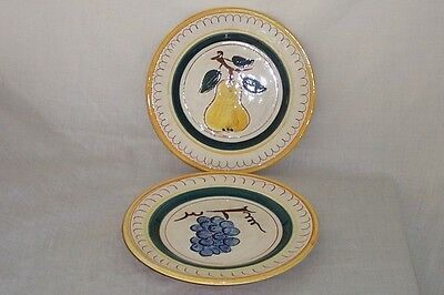 """STANGL TERRA ROSE 8.25"""" SALAD PLATES SET OF 2 - A PEAR AND A GRAPE  MADE IN USA"""