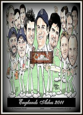 "ASHES 2011  ENGLAND TEAM CARTOON- MINI-POSTER PRINT 7"" x 5"""