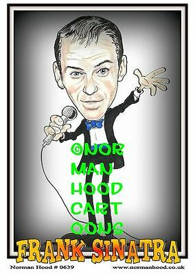 "FRANK SINATRA CARTOON by NORMAN HOOD- MINI-POSTER PRINT 7"" x 5"""