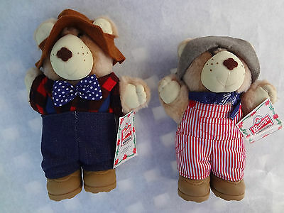 Vintage Wendys Furskin Teddy Bears Dudley and Farrell MWT 1986 Collectibles EXC