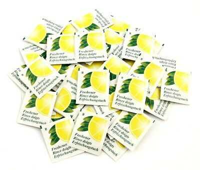 Individually Foil Wrapped Lemon Fresh Wet Wipes - Box of 50