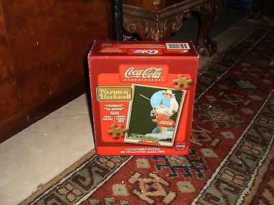 """COLLECTIBLE- """"FISHING"""" """"LE PECHE"""" 500 PIECE NORMAN ROCKWELL coca cola puzzle"""