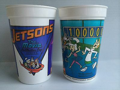 WENDY'S HAMBURGERS The Jetsons Movie 2 Plastic COLLECTOR CUPS George Elroy Judy