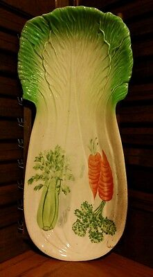 Vintage Hand Painted Celery Carrots Vegetable Relish Dish Plate Spoon Rest