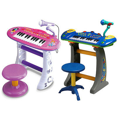 Electronic Kids keyboard Piano Musical toy w/mic/stool/stand/Record/playback