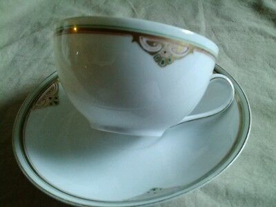Antique Art Deco Bavaria Germany China Tea Cup and Saucer White 14k Gold Trim